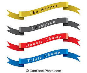 勝者, ベクトル, セット, チャンピオン, リボン