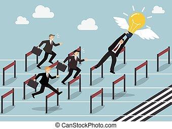 勝者, 考え, 競争, レース, ビジネスマン, 把握