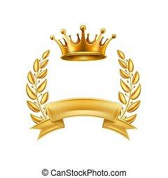 勝者, 金, フレーム, 花輪, 王冠, 隔離された, 月桂樹