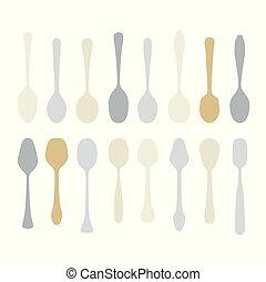 勺子, 放置, 各种各样