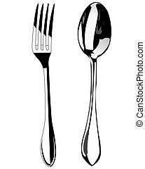 勺, 以及, 叉子