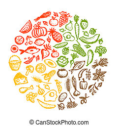 勾画, 健康的食物, 背景, 设计, 你