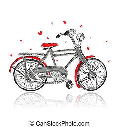 勾画, 在中, 老的自行车, 为, 你, 设计
