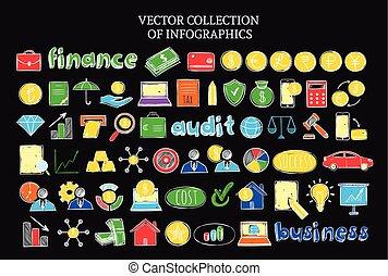 勾画, 放置, 金融, 色彩丰富, 图标, infographic