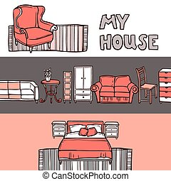 勾画, 旗帜, 家具