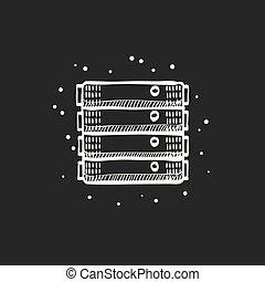 勾画, -, 服务器, 黑色, 支架, 图标