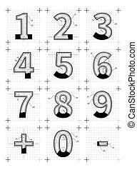 勾画, 蓝图, 风格, 信件, numbers., white., 建筑
