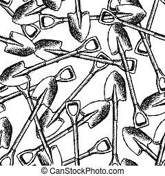 勾画, 铁锨, 花园, 模式, seamless, 矢量