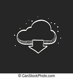 勾画, -, 黑色, 下载, 云, 图标