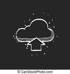 勾画, -, upload, 黑色的云, 图标