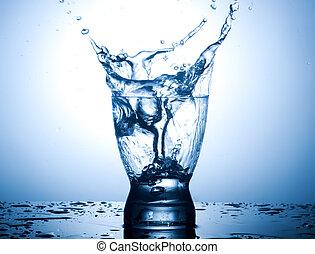 勾配, 水, はね返し, 背景, ガラス