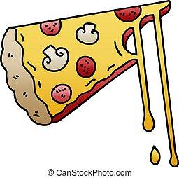 勾配, 漫画, quirky, 影で覆われる, チーズが多い, ピザ