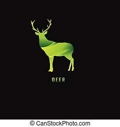 勾配, 鹿, シンボル。, 暗い, バックグラウンド。, ベクトル, 緑, logo.