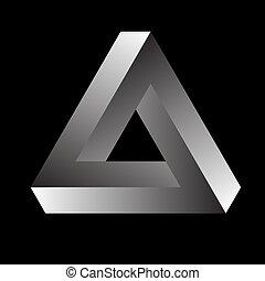 勾配, 黒, バックグラウンド。, 三角形, ∥あるいは∥, tribar, penrose, 不可能, tribar