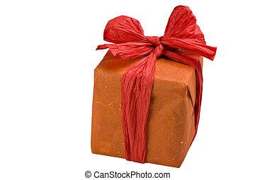 包まれた, オレンジ, パパ, 贈り物
