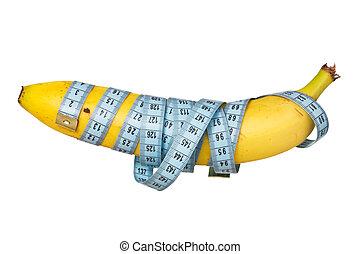 包まれた, テープ, バナナ, 測定