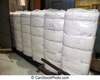 包まれた, プラスチック, ベール, 綿
