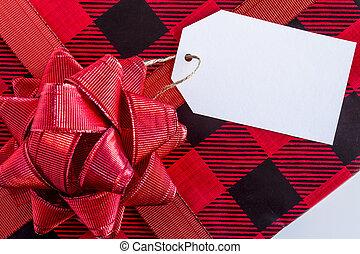 包まれた, プレゼント, タグ, クリスマス