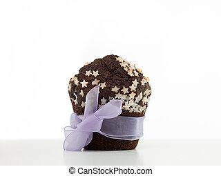 包まれた, マフィン, の上, 贈り物, チョコレート