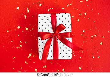 包まれた, 金, 白, 黒, ポルカドット, 赤, 贈り物, ペーパー, 背景, sparkles., 弓, 箱