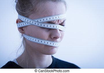 包まれた, 頭, テープ, のまわり, 測定