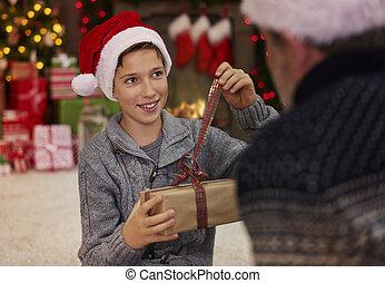 包囲, 雰囲気, サンタクロース, 息子