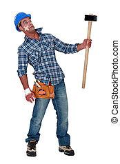 包帯をされた, 建築作業員, 慎重, の, a, sledgehammer