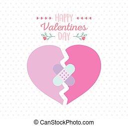 包帯, 幸せ, 心, 悲しい, 援助, 日, 壊される, バレンタイン