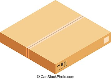 包装, 箱, アイコン, 等大, スタイル