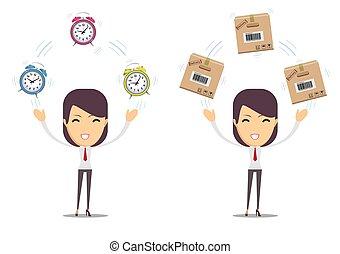 包裹, 婦女, 紙板, 藏品, 鐘