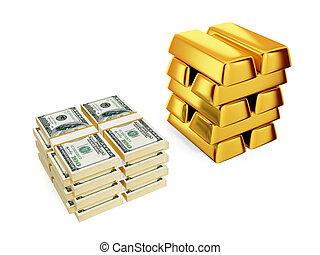 包, 金子, 酒吧。, 大, 美元