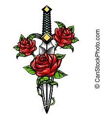 匕首, 刀, 以及, 上升, 花, 畫, 在, 紋身, 風格