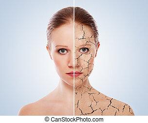 化妆品, 皮肤, 以前, care., 脸, 产生, 处理, 妇女, 在之后, 过程, 概念, 年轻