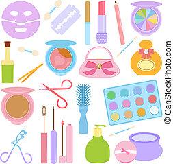 化妝品, 構成, 在, 彩色蜡筆