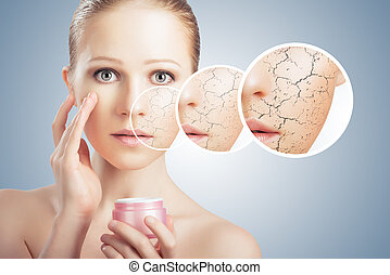 化妝品, 皮膚, care., 臉, 產生, 治療, 婦女, 乾燥, 概念, 年輕
