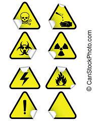 化学制品, 放置, 警告, signs.