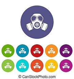 化学物質, ガス, セット, マスク, アイコン