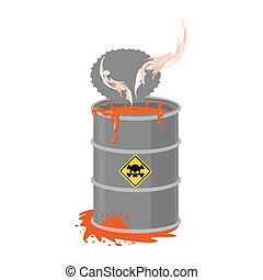 化学物質, 屑, 放射性, ごみ, 液体, 危険, 有害, keg., pollution., emissions., 環境, 生態学的, cask., 有毒廃棄物, barrel., 災害