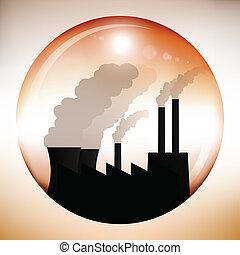 化学物質, 球, 中, 工場, 赤