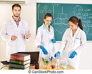 化学, グループ, 学生, flask.