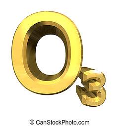 化学, 公式, 在中, 金子, 在中, 臭氧