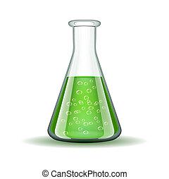 化學制品, 實驗室, 透明, 燒瓶, 由于, 綠色, 液体