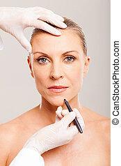 化粧品の 外科医, 印, 中央の, 年齢, 女