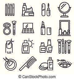 化粧品, そして, 美しさ, アイコン, セット, 中に, 薄いライン, スタイル