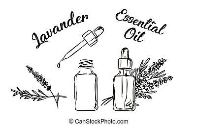 化粧品, エステ, 選択肢, 美しさ, 図画, 隔離された, 花, 束, 必要, ingredient., 待遇, ...