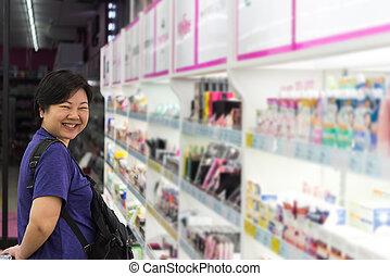 化粧品, スーパーマーケット, セール, タイプ, 多数