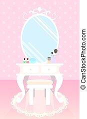 化粧品, 上に, 構成しなさい, テーブル, 中に, ピンク部屋, ポルカドット, 壁紙