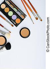 化粧品, 構造の ブラシ, 背景, 白