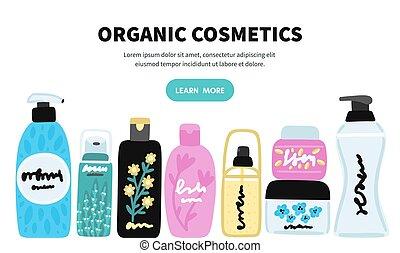 化粧品, 自然, products., 店, 美顔術, bottles., 皮膚, 多数, ベクトル, cosmetics., ジャー, 美しさ, care., オンラインで