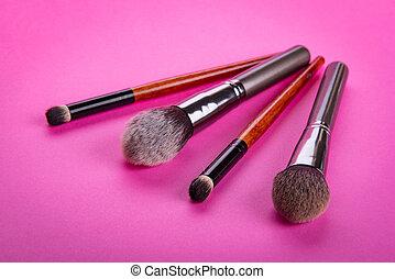 化粧品, 適用, ブラシ, メーキャップ